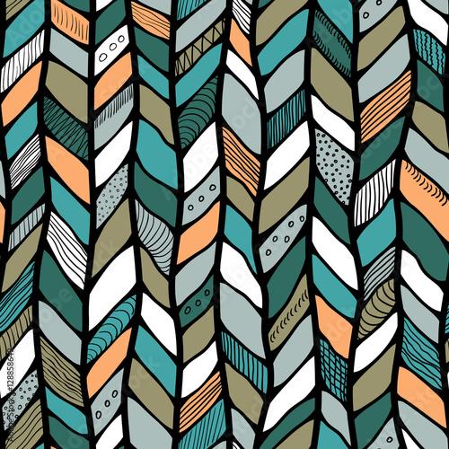 Tribal style braided seamless pattern, ethnic chevron multicolor Canvas Print