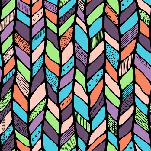 Photo Tribal style braided seamless pattern, ethnic chevron multicolor