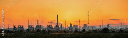 Industrial landscape on sunset