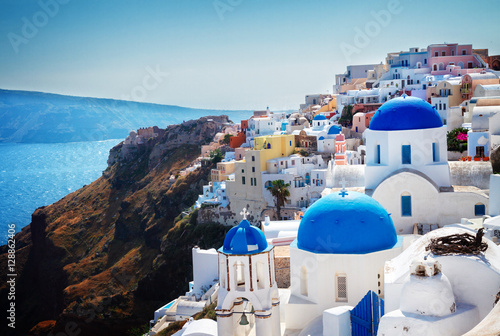 Recess Fitting Santorini Oia, traditional greek village of Santorini with blue domes of churches, Greece, retro toned