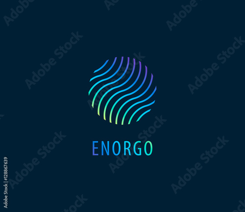 Vector abstract waves in circle colorful logo  Energy, water