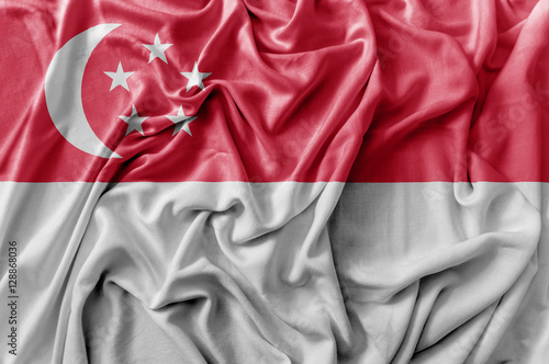 Photo  Ruffled waving Singapore flag