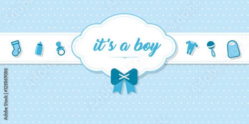 """Fotografía  elegante Karte zur Geburt eines Babies mit Schrift """"It's a boy"""