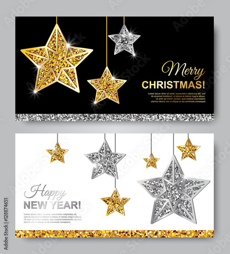 happy new year and merry christmas horizontal leaflets with gold and silver hanging stars vector