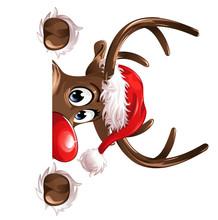 Rudolph Corner Watching Christmas Hat