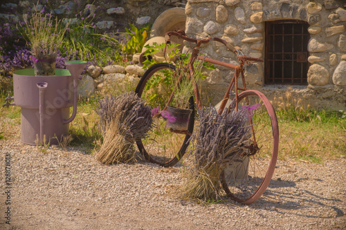 Photo  An old rusty bike and lavender in the village, Provence, France