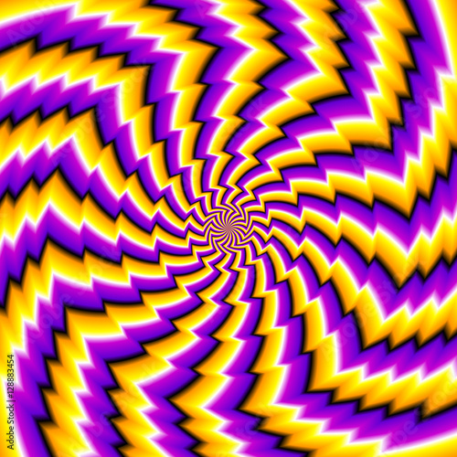Photo  Abstract yellow and purple background with zigzags (spin illusion)