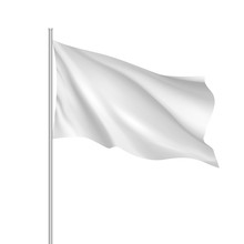 White Waving Flag Template. Cl...