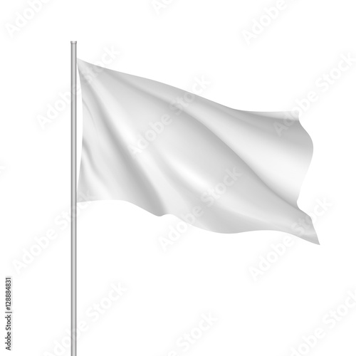 White waving flag template. Clean horizontal flag, for your design. Empty blank of flag on flagpole. Vector 3d mockup. Fototapete