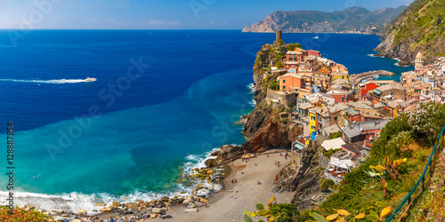 Poster Liguria Aerial panoramic view of Vernazza fishing village in Five lands and Mediterranean Sea, Cinque Terre National Park, Liguria, Italy.