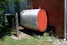 Home Heating Oil Tank. Outdoors. Horizontal.