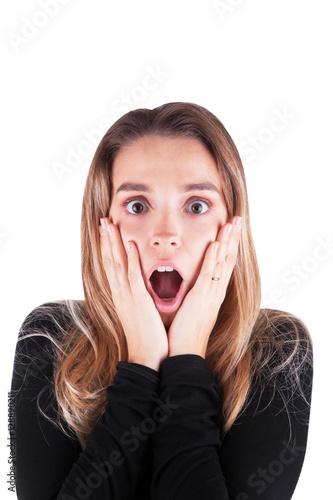 Fotografie, Obraz  Donna sorpresa o scioccata con bocca aperta