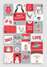 Cute Merry Christmas Advent Calendar For Holiday