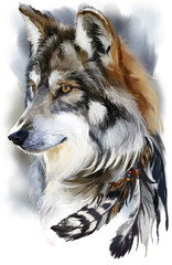 Panel Szklany Pies Wolf watercolor painting