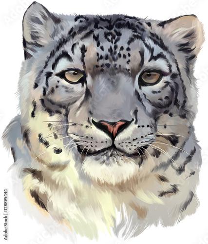 Deurstickers Hand getrokken schets van dieren Leopard