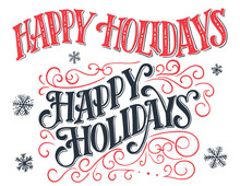 Happy Holidays Vintage Hand-lettering Set. Hand-drawn Typography Isolated On White Background