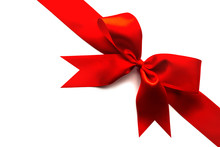 Red Satin Ribbon And Bow Isolated On White Background