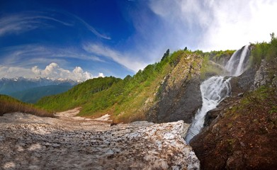 Fototapeta na wymiar Waterfall . in Caucasus mountains, Krasnodar krai