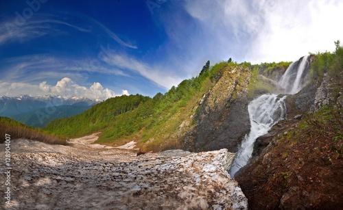 Fototapeta Waterfall . in Caucasus mountains, Krasnodar krai
