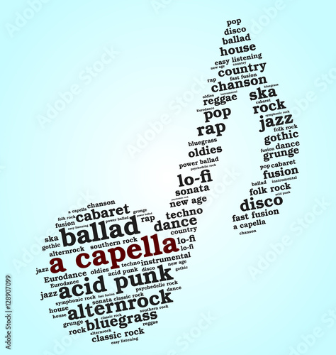 word cloud musical notes gradient blue background variety of music