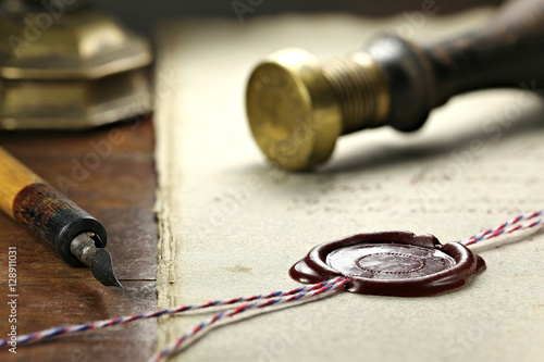 wax seal on document Canvas Print
