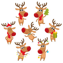 Cute And Funny Christmas Reindeers, Cartoon Vector Illustration Isolated On White Background. Rudolf Reindeer With Christmas Tree, Gifts And Garland, Ice Skating, Having Fun, Decoration Elements