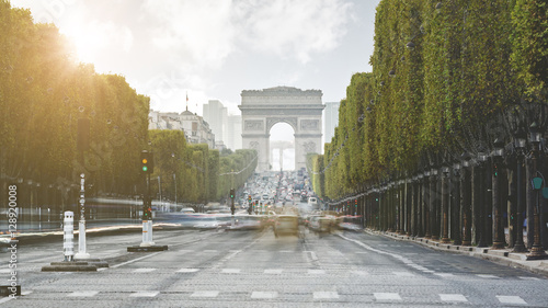 Poster de jardin Paris Evening light on Champs Elysees - Paris