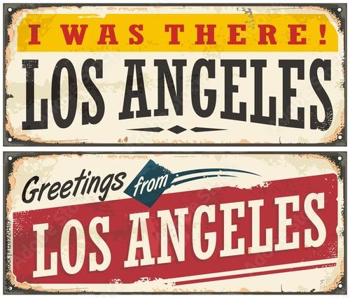 Los Angeles retro podróży znak lub pocztówka szablon