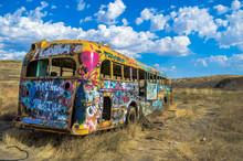 Back Of Deserted Graffiti School Bus.