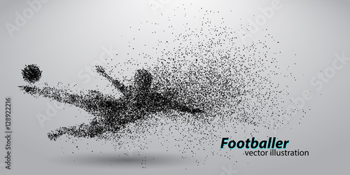Juliste  silhouette of a football player from particles