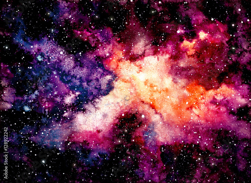 Obrazy na płótnie Canvas Watercolor Background with Outer Space and Nebula