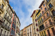 Colorful apartment buildings in the center of Pamplona