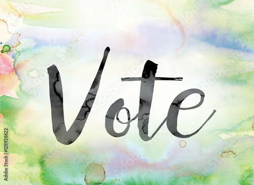 Valokuva  Vote Colorful Watercolor and Ink Word Art
