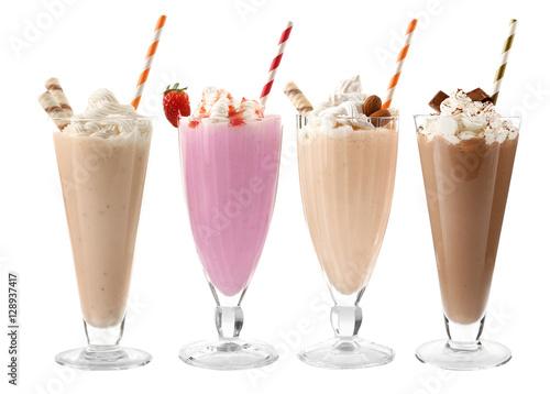 Garden Poster Milkshake Glasses with delicious milk shakes on white background.