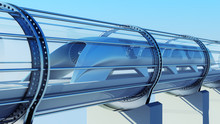 Monorail Futuristic Train In T...