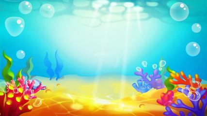 Fototapeta na wymiar Sand Bottom Undersea! Video Game's Digital CG Artwork, Concept Illustration, Realistic Cartoon Style Background and Character Design