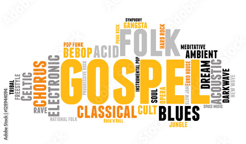 Gospel  Word cloud, type font, white background  Music concept
