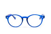 Blue Glasses On White Background