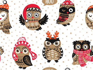 Hand drawn vector seamless pattern with Christmas Owls