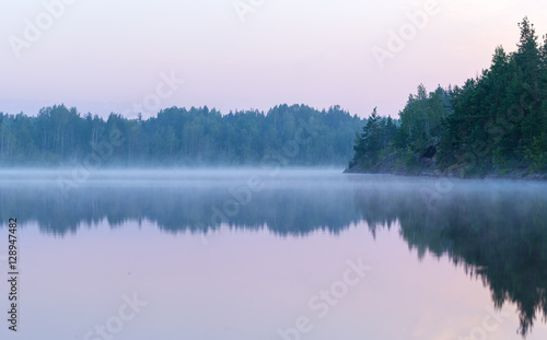 Spoed Foto op Canvas Purper summer morning fog