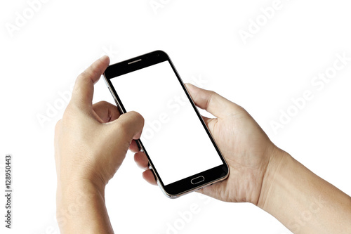 Fototapety, obrazy: hand holding black phone isolated on white clipping path inside