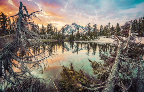 Photo sur Aluminium Reflexion mt. Shuksan with reflection on picture lake,Washington,usa.