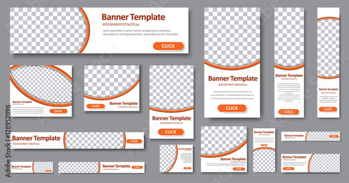 Photo  Templates web banners in standard sizes with space for photo