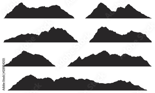 Papiers peints Gris traffic Mountains silhouettes on the white background. Vector set of outdoor design elements.