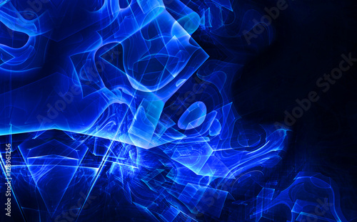 Fototapety, obrazy: Abstract tech background computer-generated image. Fractal background with textured angled surface and light effects.