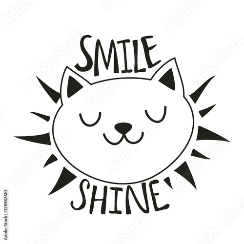 Funny vector illustration with cat head. Smile Shine Wallpaper Mural