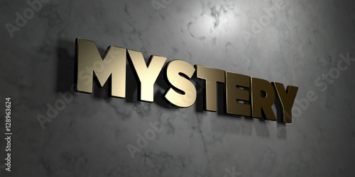 Mystery - Gold sign mounted on glossy marble wall  - 3D rendered royalty free stock illustration Poster