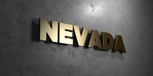 Nevada - Gold Sign Mounted On Glossy Marble Wall  - 3D Rendered Royalty Free Stock Illustration. This Image Can Be Used For An Online Website Banner Ad Or A Print Postcard.