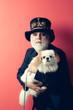 Senior bearded man with dog
