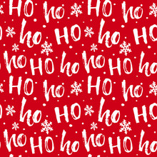 Hohoho Pattern, Santa Claus Laugh. Seamless Texture For Christmas Design. Vector Red Background With Handwritten Words Ho